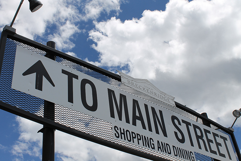 Sign Pointing to Main Street in Breckenridge, Colorado