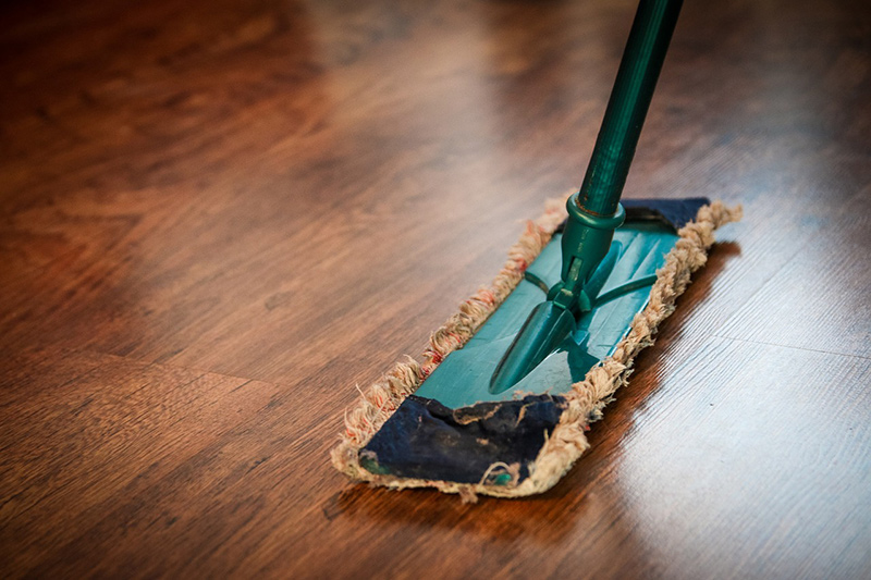 Mop Cleaning a Hardwood Floor
